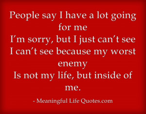People say I have a lot going for me I'm sorry, but I just can't ...