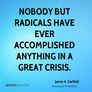 Nobody but radicals have ever accomplished anything in a great crisis.