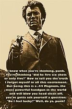 DIRTY HARRY AKA CLINT EASTWOOD photo quote poster DO YOU FEEL LUCKY ...
