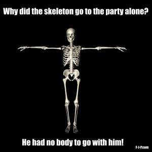 Funny Silly Skeleton Party Alone Joke Picture | Why did the skeleton ...