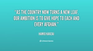 As the country now turns a new leaf, our ambition is to give hope to ...