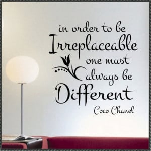Vinyl Wall Lettering Irreplaceable Quote Coco Chanel