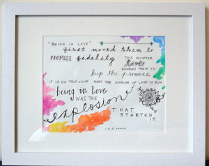 Original Watercolor Painting with L ove Quote By C.S. Lewis ...