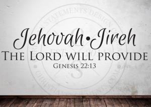 Jehovah-Jireh - The Lord Will Provide Vinyl Wall Statement - Genesis ...