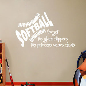Details about SOFTBALL Wall Decals- Girls Sports Quotes Stickers ...