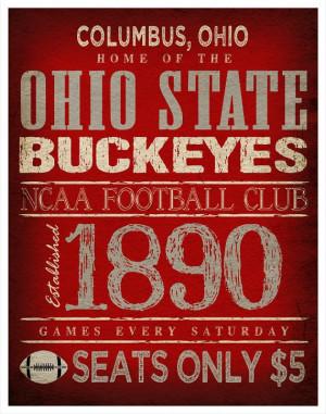 Ohio State Buckeyes Poster 11x14 Ohio Football by TheLemonPeel, $22 ...
