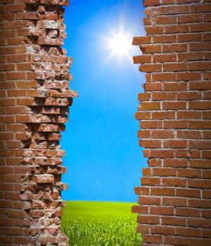 Breaken wall freedom concept