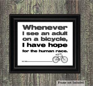 Bike Art Print, H.G. Wells Quote, Black and White, Vintage Bike ...