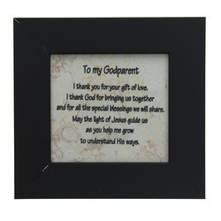 Godparent Black Framed Jerusalem Stone Plaque
