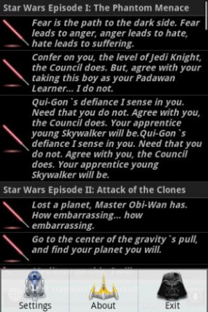 The best Star Wars quotes in Android market.