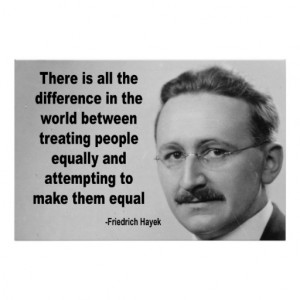 Friedrich Hayek Equality Quote Posters