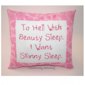 Funny Cross Stitch Pillow Pink Pillow Skinny Quote by NeedleNosey, $20 ...