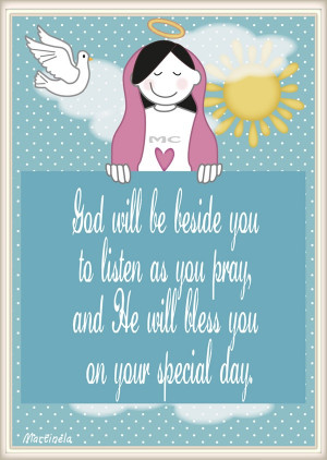 First Holy Communion illustration - quote. By Martinela Cartoons