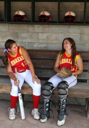 Andrean pitcher Nicole Steinbach and catcher Kelly Ryan