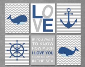 ... - whale, chevron, stripes, anchor, captain's wheel, quote - UNFRAMED
