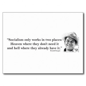 Ronald Reagan Quote on Socialism Postcards