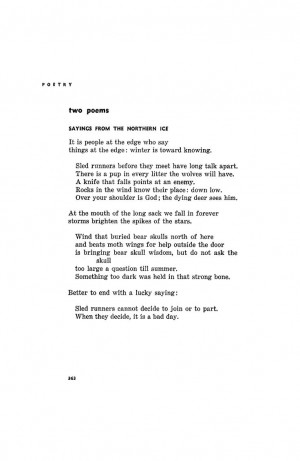Sayings from the Northern Ice by William Stafford - September 1956 ...