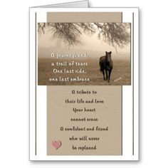 Loss of a Horse Pet Sympathy Cards