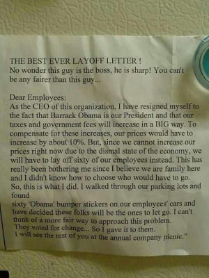 Best lay off letter ever!!