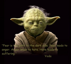 Yoda Fear is the path to the dark side. Fear leads to anger. Anger ...