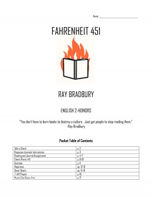 "Name Fahrenheit 451 Ray Bradbury English 2-Honors ""You don't have"