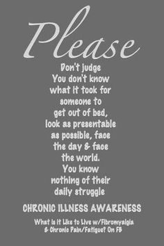 Please don't judge #Chronic Illness