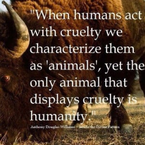 When human act with cruelty we characterize them as animals yet the ...
