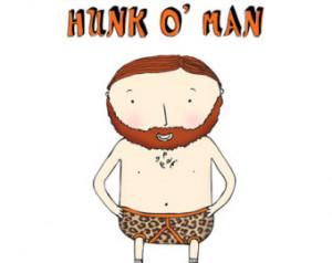Hunk o' man birthday card funny I love you handsome man beard ...