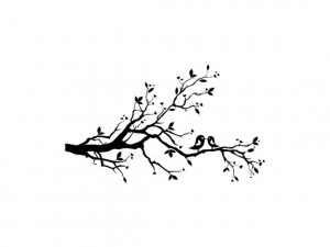 Printable Tree Branch Template Whimsical love birds in tree