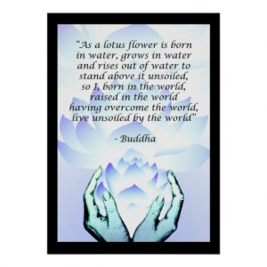 Lotus Buddha Flower Quote Pink Poster 2
