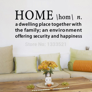The meaning of Home Vinyl wall sticker Quote Warm Family living room ...