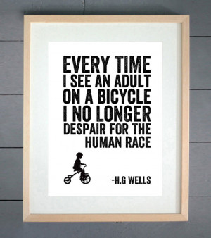 Wells Human Race Cycling Typography Print - Various Sizes