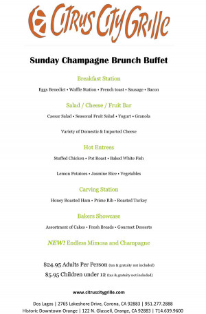Main Menu Sunday Brunch Drinks