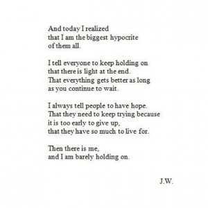 black and white, depressed, depression, hold on, hypocrite, quote, sad ...