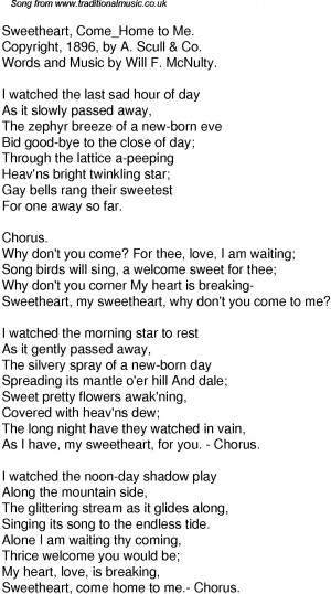 American Old Time Song Lyrics: 50 Sweetheart Come Home To Me