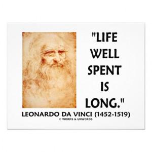 Life Well Spent Is Long (Leonardo da Vinci Quote) Personalized Invite ...