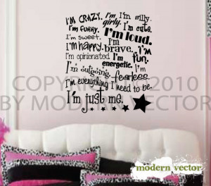 Details about I'm Just Me Girls Inspirational Vinyl Wall Quote Decal