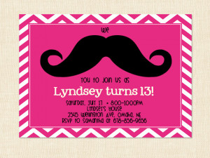 Girl Mustache Birthday Invitation Teen moustache printable chevron