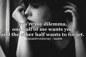 ... dilemma, one half of me wants you and the other half wants to forget