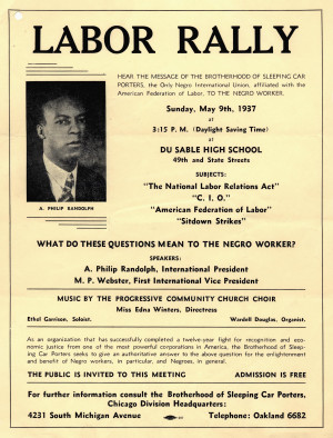 Flyer advertising a rally organized by the Brotherhood of Sleeping Car ...