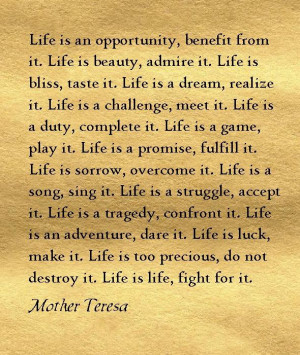 just love this quote from Mother Teresa....no wonder she was so wise ...