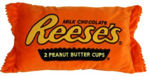 funny reeses peanut butter cup chocolate candy pillow