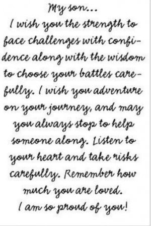 To my sons. ...I wish for you