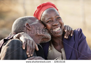 in love African American couple in their eighties and seventies ...