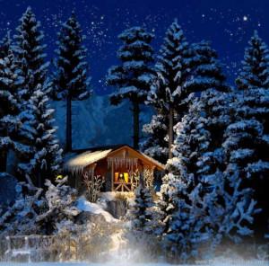 Busch 1085 Winter Log Cabin 4 3 8 x 3 5 8 x 2