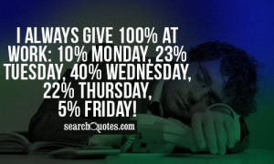 always give 100% at Work: 10% Monday, 23% Tuesday, 40% Wednesday, 22 ...
