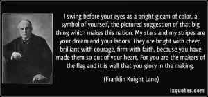 and it is well that you glory in the making Franklin Knight Lane