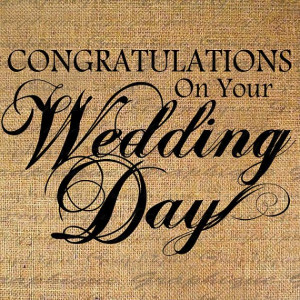 Congratulations WEDDING DAY Text Digital Collage Sheet Download Burlap ...