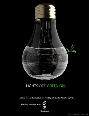 ... earth hour through a poignant image that brings out a strong message