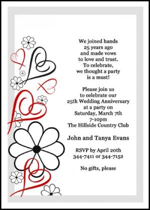 Hearts 25th Silver Wedding Anniversary Invites